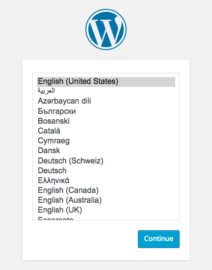 choisir langage wordpress installation