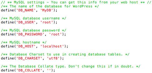 remplir fichier wp config serveur local pour wordpress