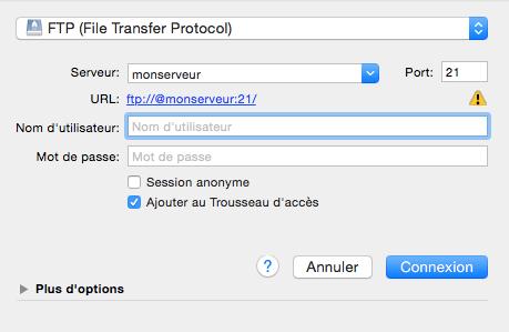 connexion au FTP cyberduck
