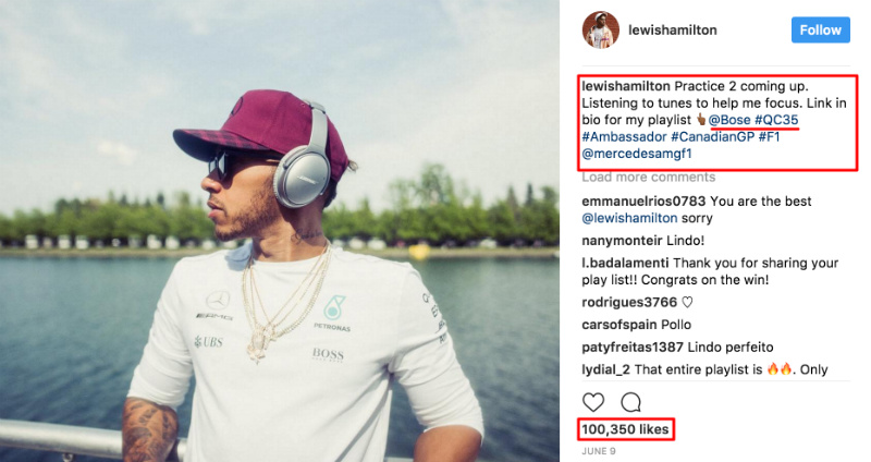 lewis hamilton instagram advertising