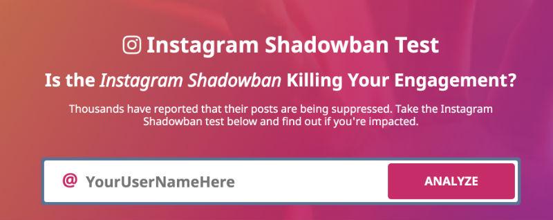 tester compte shadowban instagram