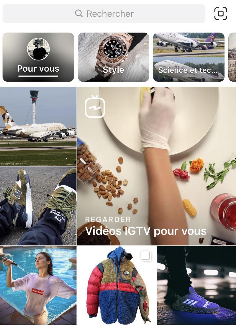 instagram explorer exemple