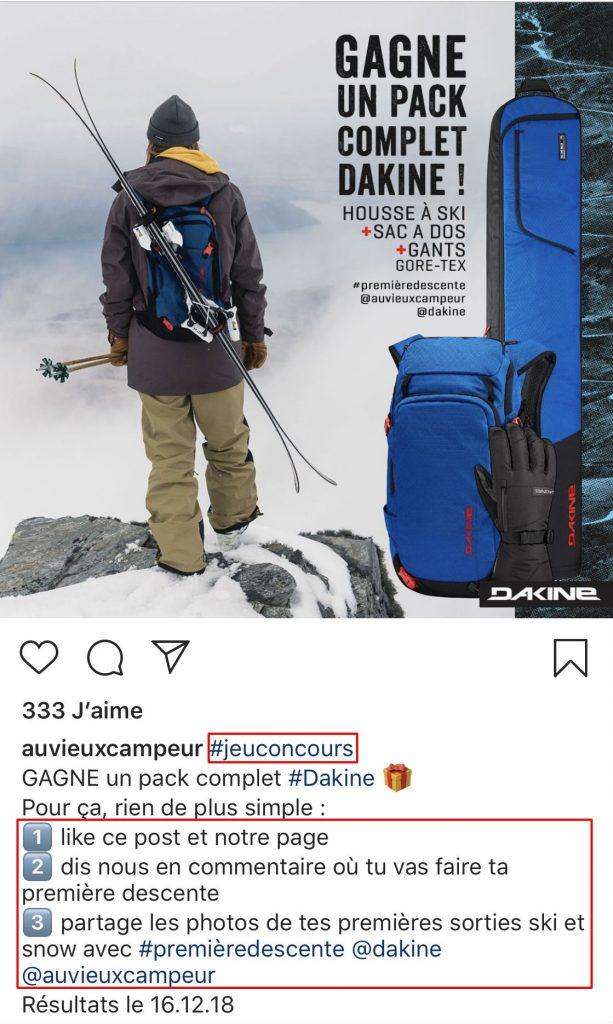 hashtags jeu concours instagram