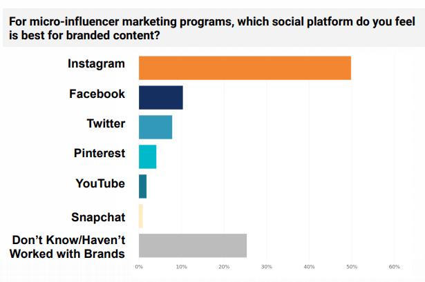 les micro influenceurs sont en majorite sur instagram