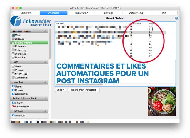Mi piace e commenti automatici per Instagram