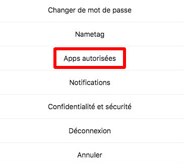 accéder aux applications connectées a votre compte Instagram