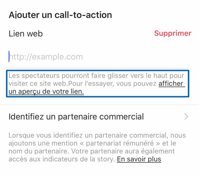 ajouter un call to action aux stories Instagram