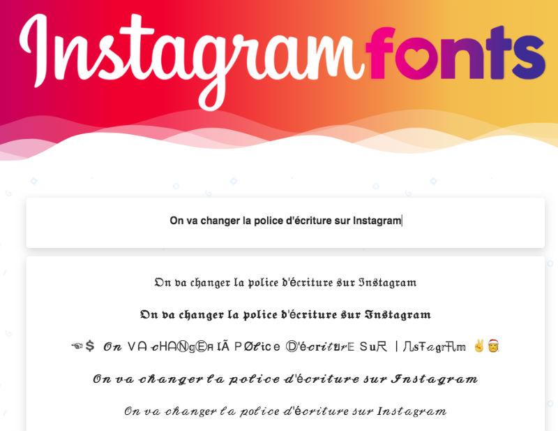 Changer la typo sur instagram en ligne et gratuit