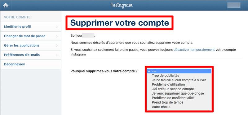 Supprimer votre compte Instagram facilement