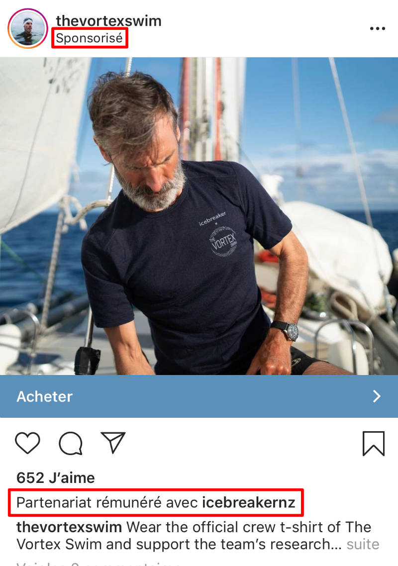partenariat sponsorisé publicité instagram