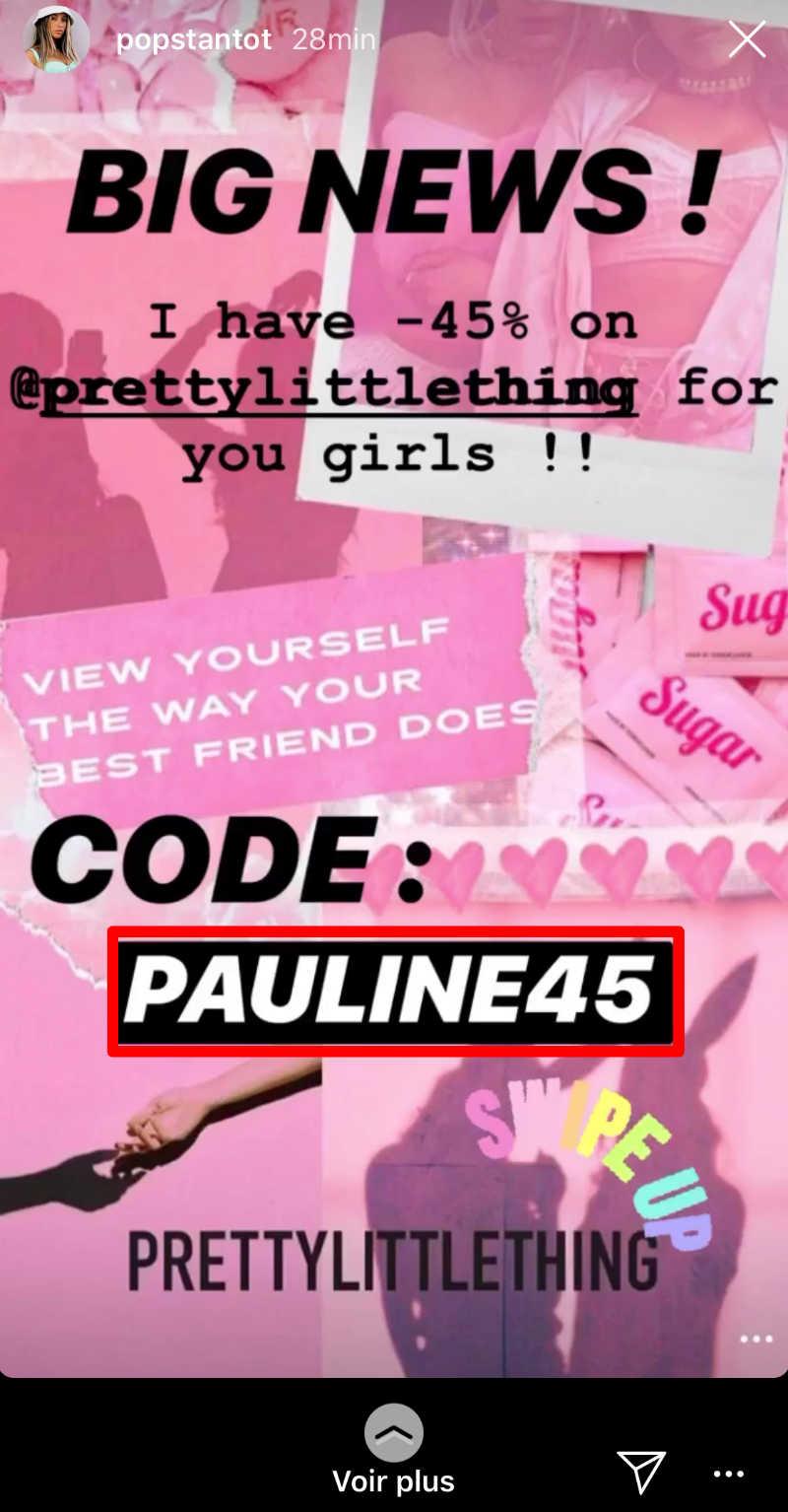 code promo pour infuenceur Instagram