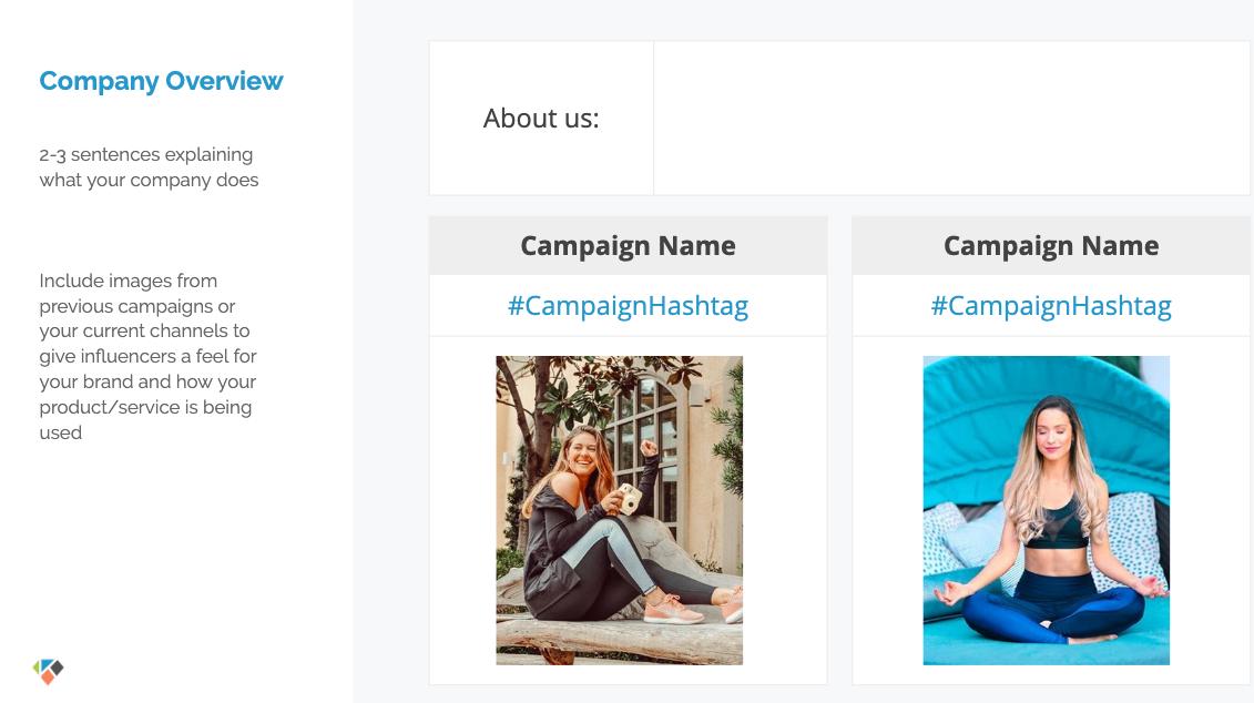 modèle de brief influenceur, exemple de campagne powerpoint