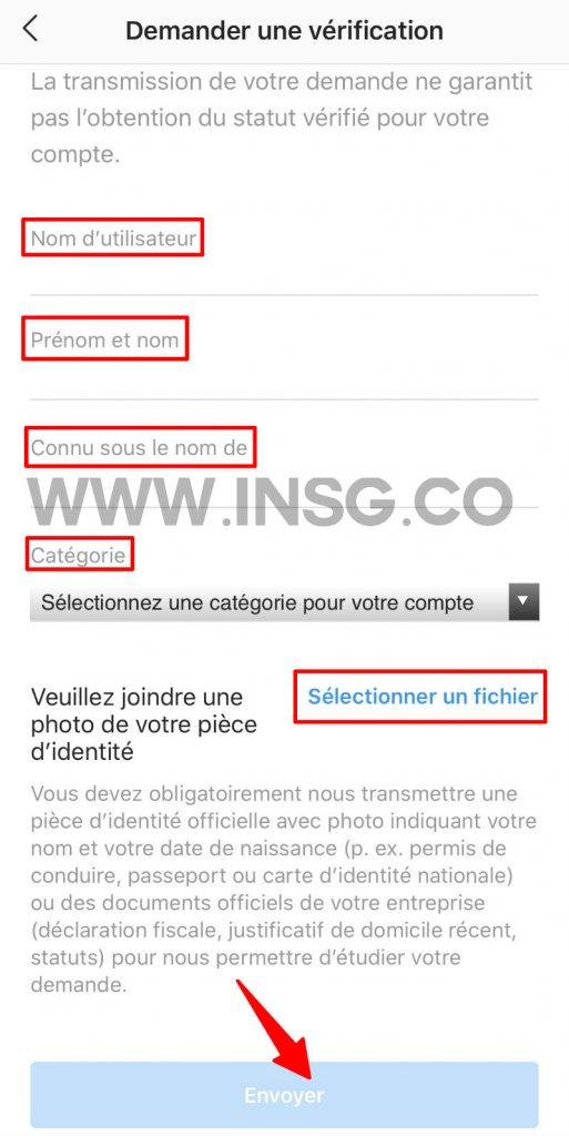 Formulaire de demande de vérification Instagram pour obtenir le badge bleu gratuit