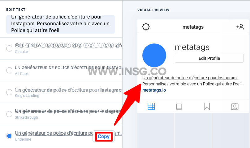 Générateur de typo et police d'écriture pour votre bio Instagram