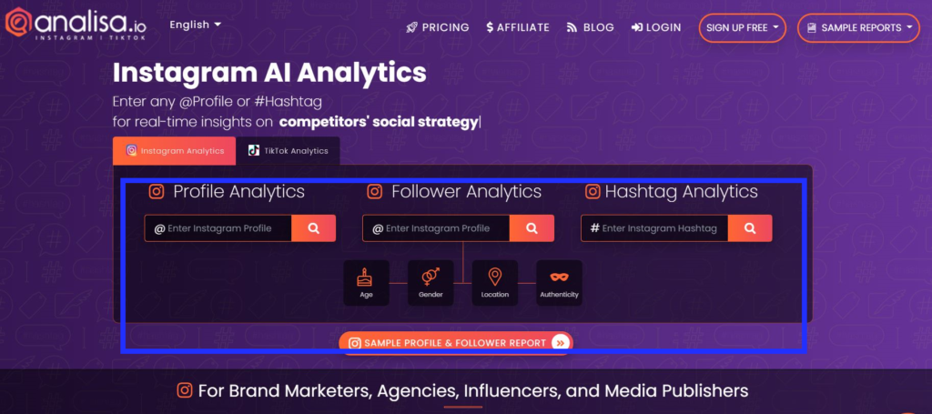 analisa influencer search tool with refined and optimised results