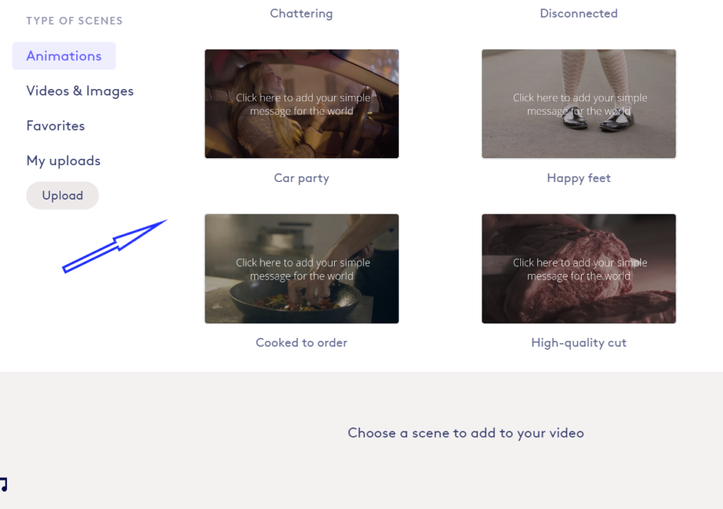 Biteable features a wide range of video templates and animations