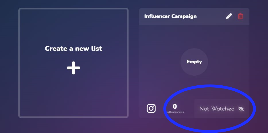 The Favikon List function allows organized, keep track of influencer campaign