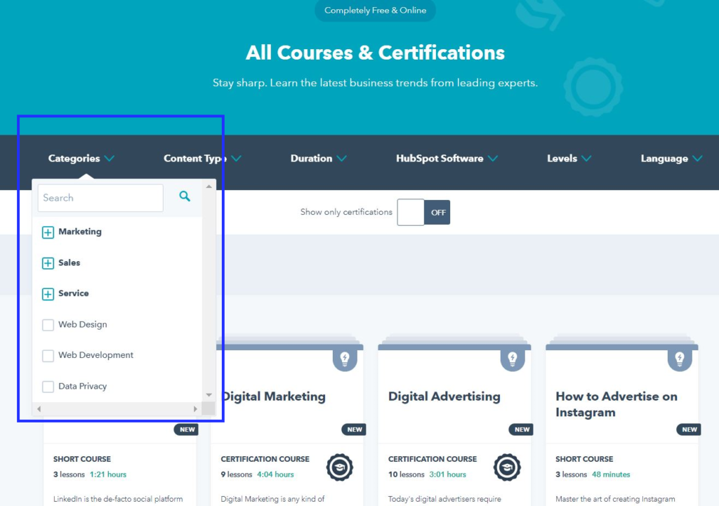 Learn from professional courses and get certified on Hubspot Academy