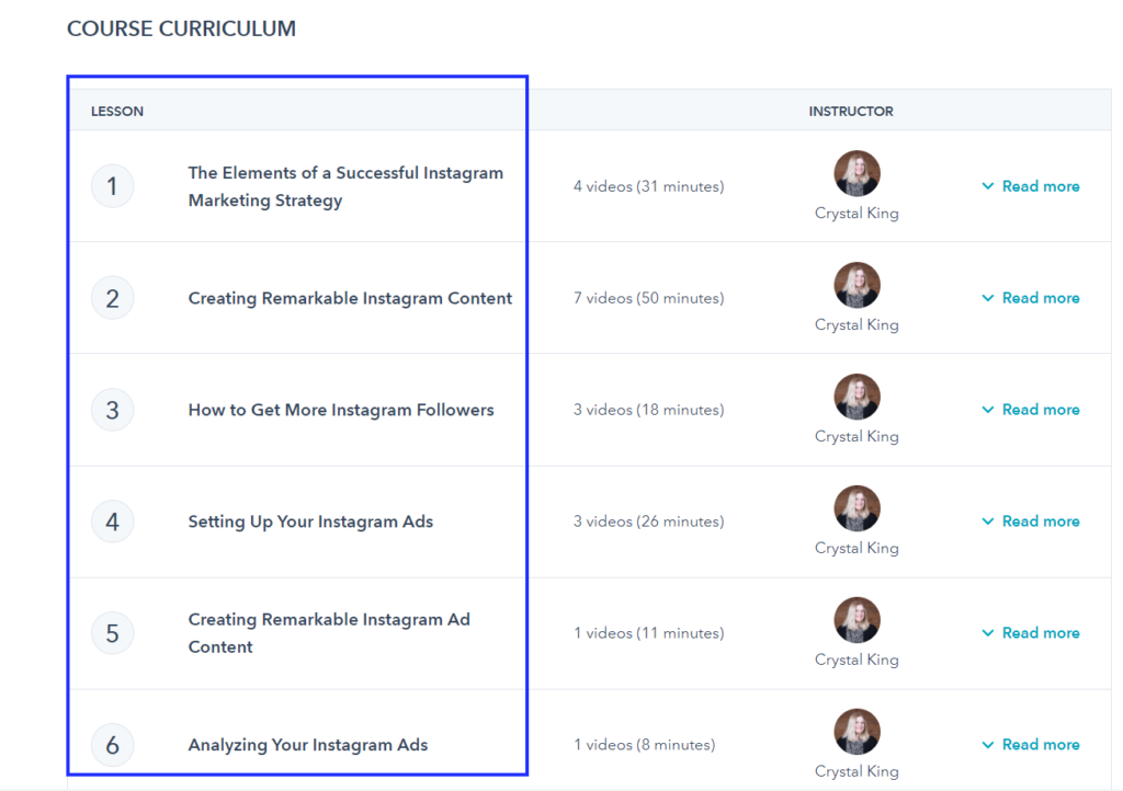 Hubspot Academy has a full range of online training courses and Instagram course