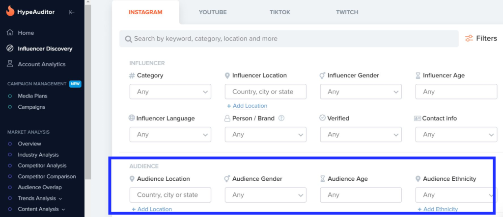 The Hype Auditor influencer marketing tool provides holistic solutions to discover the best influencers for your brand