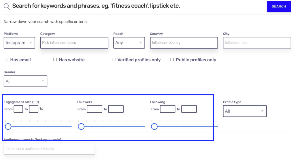 Hypetrace has various influencer search refine settings to get the most tailored results