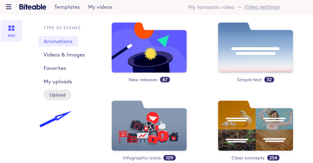 Biteable is a creative video editor tool for animations