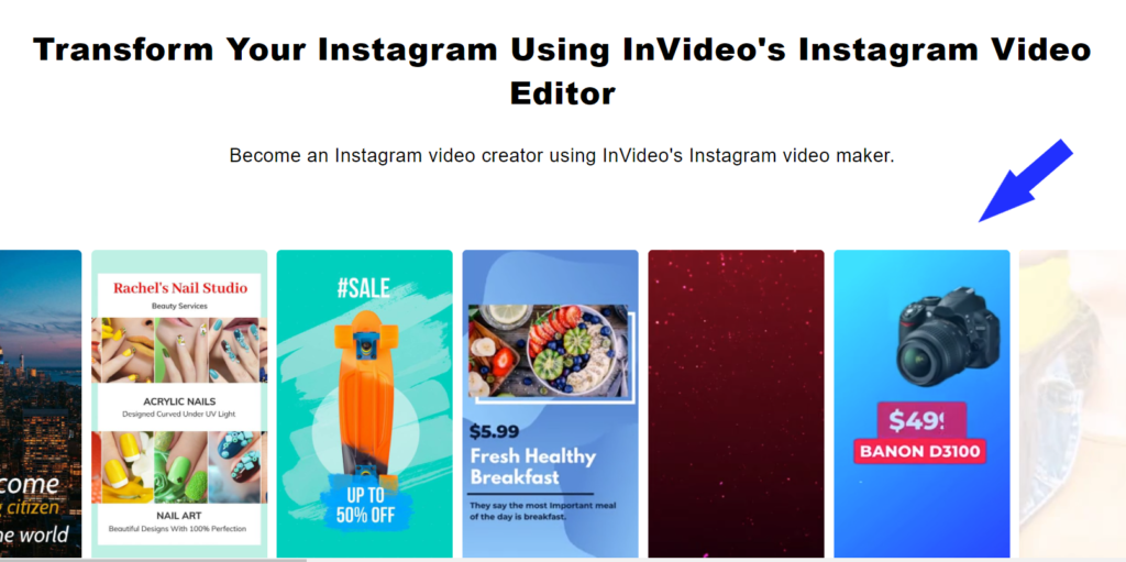 Invideo video editing tool is suitable for instagram Reels