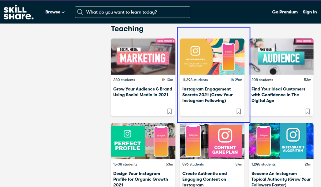 Skillshare professional course platform with expert Instagram course