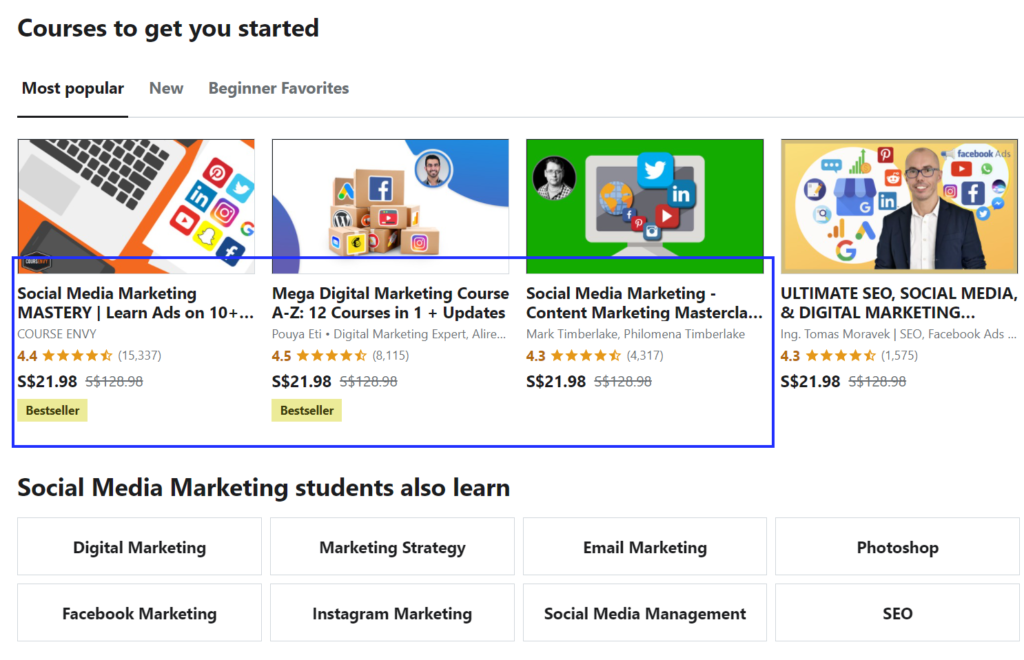 Udemy is an online course platform with courses for all industries